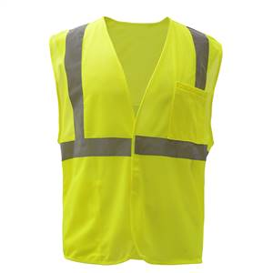 GSS Safety 1003 Standard Class 2 Mesh Hook & Loop Safety Vest - Lime