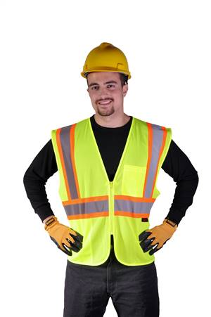 GSS Safety 1005 Standard Class 2 Two Tone Mesh Zipper Safety Vest - Lime
