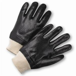 West Chester 1007R Black PVC Coated, Semi-Rough Grip Finish, Interlock Lined, Knit Wrist Gloves - Large - Box/12 Pairs