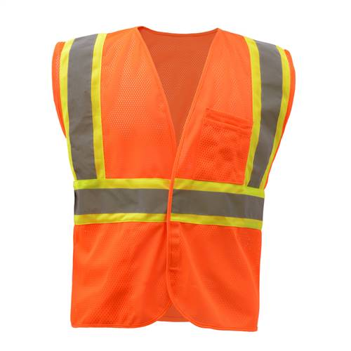 GSS Safety 1008 Standard Class 2 Two Tone Mesh Hook & Loop Safety Vest - Orange