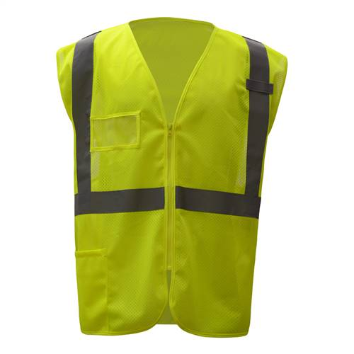 GSS Safety 1009 Standard Class 2 Mesh Zipper Safety Vest - Lime