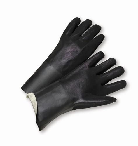 West Chester 1027RF Black PVC Coated, 12inch Length, Sandpaper Grip, Interlock Lining Gloves - Box/12 Pairs