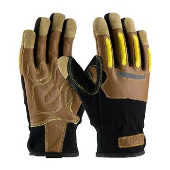 PIP 120-4100 Maximum Safety Reinforced Goatskin Leather Palm Glove with Leather Back, Kevlar Lining and TPR Molded Knuckle Guards - 1 Pair