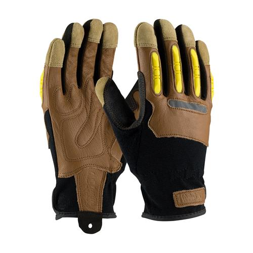 PIP 120-4200 Maximum Safety Reinforced Goatskin Leather Palm Glove with Leather Back and  TPR Molded Knuckle Guards -  1 Pair