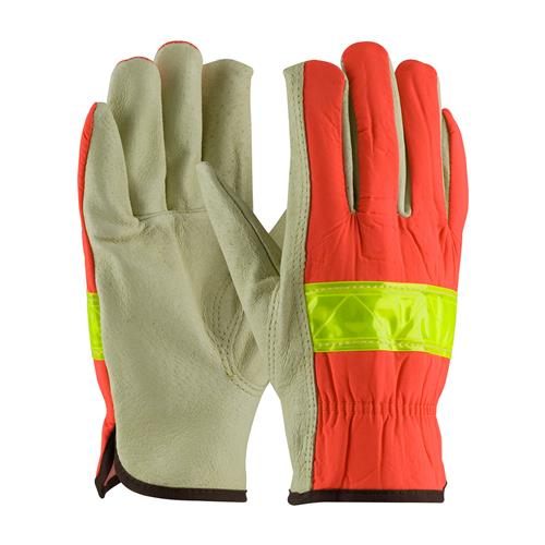 PIP 125-368 Top Grain Pigskin Leather Palm Driver's Glove with Hi-Vis Nylon Back - Open Cuff - Box/12 Pairs