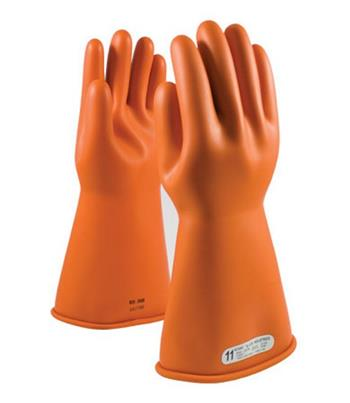 "Pip Novax Rubber Insulating Gloves Electrical Rated Gloves, Orange, 14"", Unlined, Smooth Finish, Beaded"