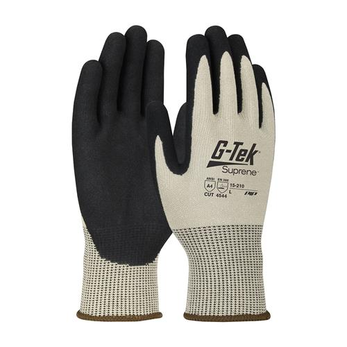 PIP 15-210 G-Tek Suprene ANSI Cut Level 4 Seamless Knit Suprene Blended Glove with Nitrile MicroSurface Grip Palms & Fingers Box/12 Pairs