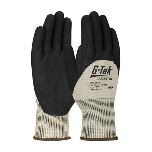 PIP 15-215 G-Tek Suprene ANSI Cut Level 4 Seamless Knit Suprene Blended Glove with Nitrile MicroSurface Grip Palms & Knuckles Box/12 Pairs