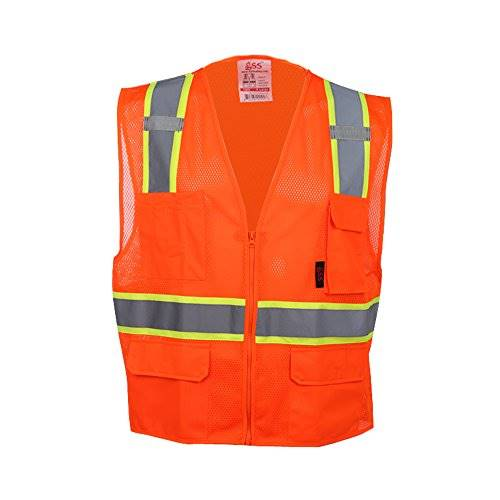 GSS Safety 1502 Premium Class 2 Multi-Purpose Two Tone Mesh Zipper 6 Pockets Vest - Orange