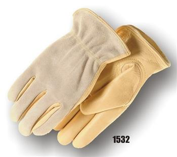 Majestic 1532 Drivers Gloves, Grain Cowhide Leather Palm, Split Back, Kevlar Sewn, Keystone Thumb