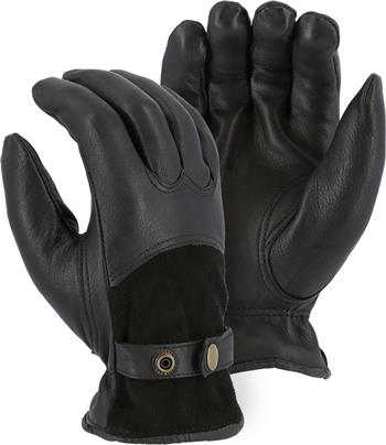 Majestic 1546T Black Deerskin Winter Drivers Gloves,