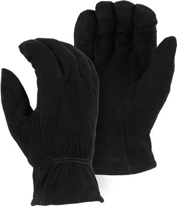Majestic 1548BLK Split Deerskin Drivers Gloves, 40 Gram Thinsulate Insulated, Keystone Thumb