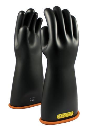 PIP 155-2-16 Novax Rubber Insulating Gloves Electrical Rated Gloves, Two Tone, Black W/Orange Inner Color