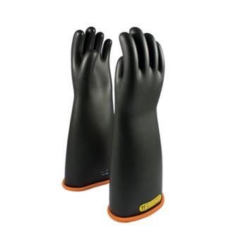 "PIP 155-2-18 Novax Rubber Insulating Gloves, Class 2 Electrical Rated, Black with Orange Inner, 18"", ANSI/ASTM D120 / NFPA 70E, Pair"