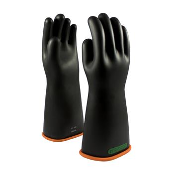 "PIP 155-3-16 Class 3 Novax Rubber Insulating Gloves Electrical Rated Gloves, Two Tone, Black with Orange Inner Color, 16"", Pair"