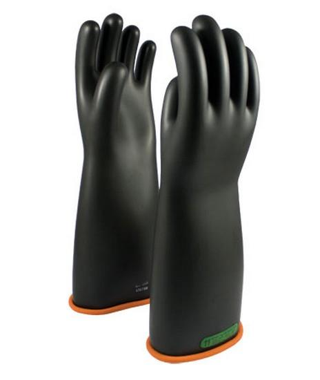 Pip Novax Rubber Insulating Gloves Electrical Rated Gloves, Two Tone, Black W/Orange Inner Color