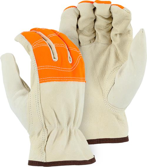 Majestic #1554HVO Goatskin Drivers Gloves, A-Grade, Keystone Thumb, Shirred Back, Hi Vis Orange Fingers  Box/12 prs