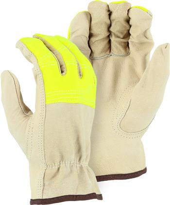 Majestic 1554HVY Goatskin Drivers Gloves, A-Grade, Keystone Thumb, Shirred Back, Hi Vis Yellow Fingers - Box/12 Pairs