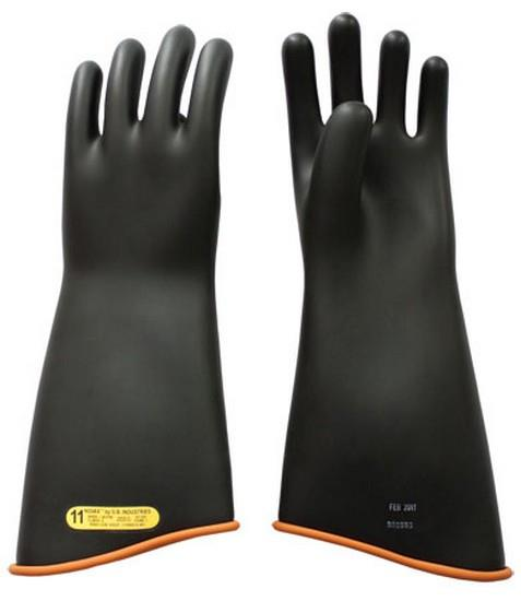 "Pip Novax Rubber Insulating Gloves Electrical Rated Gloves, Class 2, Black Over Orange, 18"", Unlined, Model#/Size: 158-2-18/10"