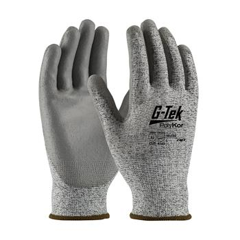 PIP 16-150 G-Tek PolyKor Seamless Knit Blended Gloves, Polyurethane Coated Smooth Grip on Palm & Fingers, Cut Level A2,  Box/12 Pairs