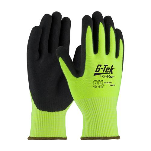 PIP 16-343LG G-Tek PolyKor Hi-Vis Seamless Knit PolyKor Blended Glove with Nitrile Coated, ANSI Cut Level 2 - Box/12 Pairs