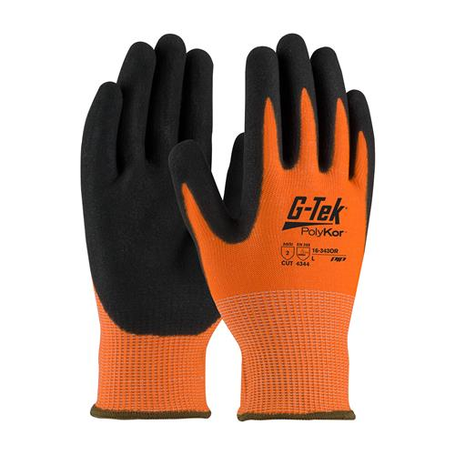 PIP 16-343OR G-Tek PolyKor Hi-Vis Seamless Knit PolyKor Blended Glove with Nitrile Coated, ANSI Cut Level 2 - Box/12 Pairs