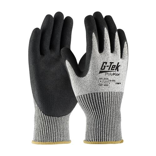 PIP 16-350 G-Tek PolyKor Seamless Knit PolyKor Blended Glove with Nitrile Coated Micro-Surface Grip on Palm & Fingers - Box/12 Pairs
