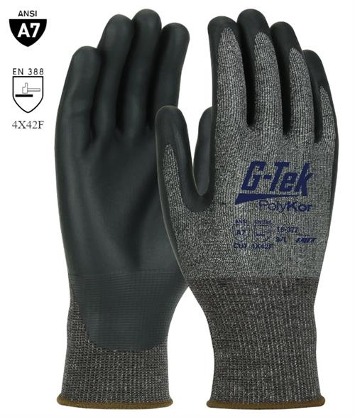 PIP 16-377 G-Tek PolyKor X7 Cut Resistant Gloves, ANSI Cut Level A7, Puncture Resistant, FDA Compliant, Touch Screen Compatible, Box/ !2 Pairs