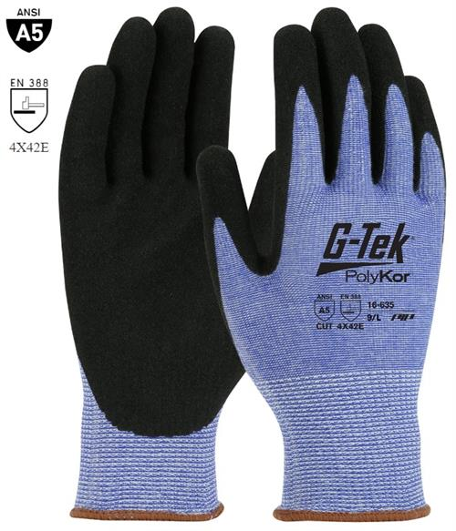 PIP 16-635 G-Tek PolyKor Cut Resistant Glove, Nitrile Coated MicroSurface Grip on Palm & Fingers, ANSI Cut Level A5, Box/ 12 Pairs