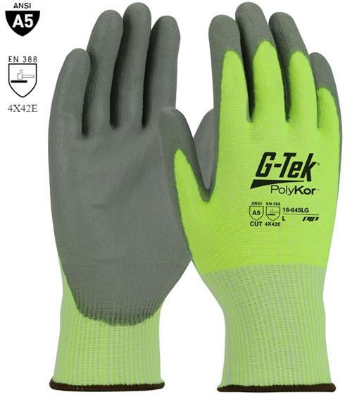 PIP 16-645LG G-Tek PolyKor Cut Resistant Glove, Polyurethane Coated Smooth Grip Palm & Fingers, ANSI Cut Level A5 , Box/ 12 Pairs