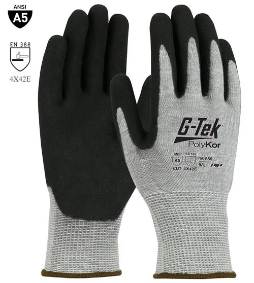 PIP 16-655 G-Tek PolyKor Cut Resistant Glove, Double-Dipped Nitrile Coated, MicroSurface Grip Palm & Fingers, ANSI Cut Level A5 , Box/ 12 Pairs
