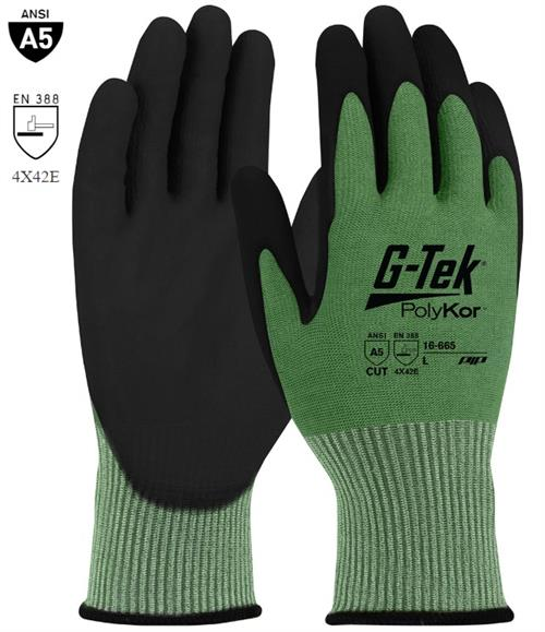 PIP 16-665 G-Tek PolyKor Cut Resistant Glove, Polyurethane Coated Smooth Grip on Palm & Fingers, ANSI Cut Level A5, Box/ 12 Pairs
