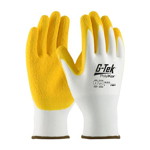 PIP 16-813 G-Tek PolyKor Seamless Knit PolyKor Blended Glove with Latex Coated Crinkle Grip on Palm & Fingers - Box/12 Pairs