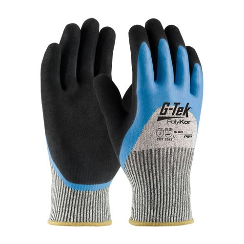 PIP 16-820 G-Tek PolyKor Seamless Knit PolyKor Blended Glove with Acrylic Lining and Double-Dipped Latex Coated, ANSI Cut Level 3 - Box/12 Pairs