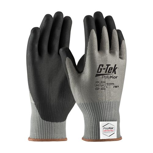 PIP 16-X570 G-Tek PolyKor Xrystal ANSI Cut Level 4 Seamless Knit Blended Glove with Neofoam Grip Palms & Fingers Box/12 Pairs