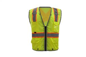 GSS Safety 1601 Hype-Lite Class 2 Safety Vest w/Reflective Piping-X Back-Lime