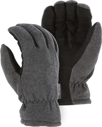 Majestic 1663 Winter Deer Drivers Gloves, Soft Deerskin Split Black Palm, Gray Fleece Back Gloves w/ HEATLOK Insulation
