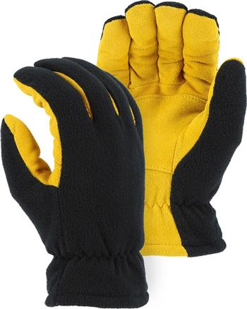Majestic 1664 Winter Deer Drivers Gloves, Soft Deerskin Split Gold Palm, Black Fleece Back Gloves w/ HEATLOK Insulation