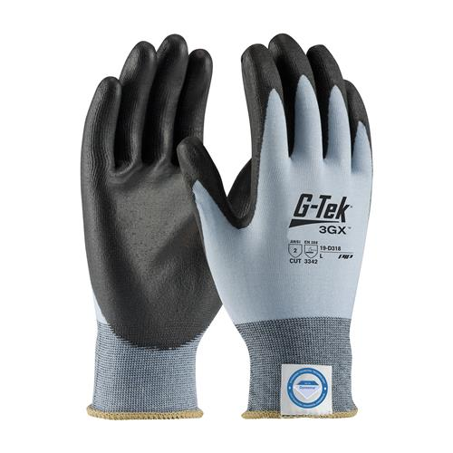 PIP 19-D318 G-Tek 3GX ANSI Cut Level 2 Seamless Knit Dyneema® Diamond Blended Glove with Polyurethane Coated Smooth Grip on Palm & Fingers Box/12 Pairs