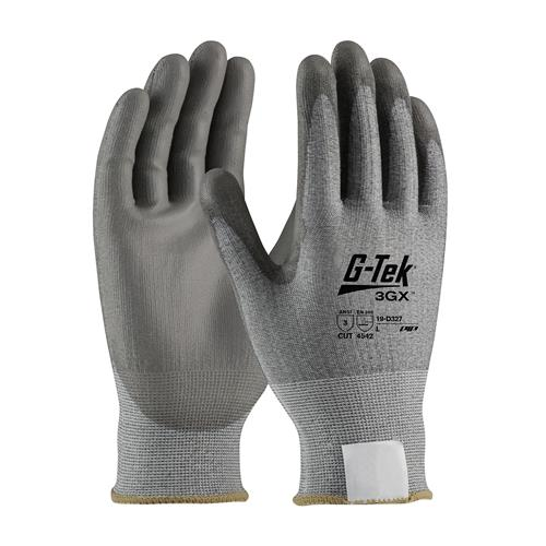 PIP 19-D327 G-Tek 3GX ANSI Cut Level 3 Seamless Knit Dyneema® Diamond Blended Glove with Polyurethane Coated Smooth Grip on Palm & Fingers Box/12 Pairs