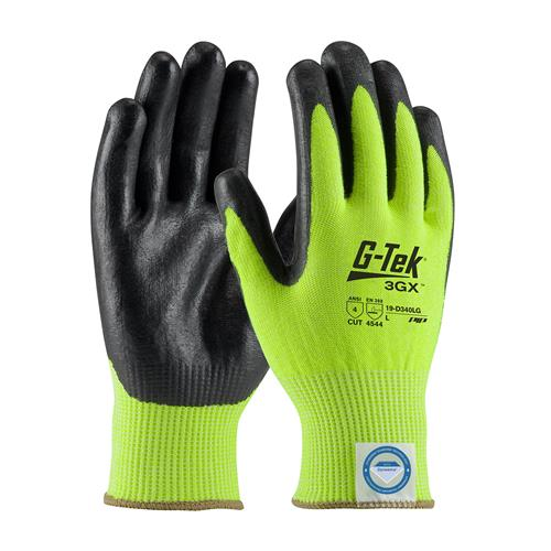 PIP 19-D340LG G-Tek 3GX Glove Hi-Vis Green Seamless Knit Dyneema Diamond Blended Glove with Nitrile Coated Foam Grip on Palm & Fingers - Box/12 Pairs