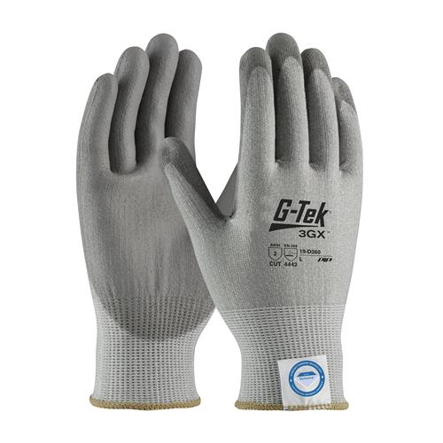 PIP 19-D360 G-Tek 3GX ANSI Cut Level 3 Seamless Knit Dyneema® Diamond Blended Glove with Polyurethane Coated Foam Grip on Palm & Fingers Box/12 Pairs