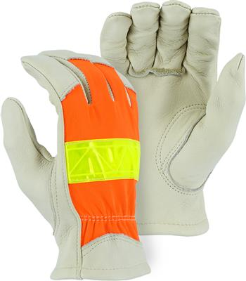 Majestic 1950 Top Grain Cowhide Leather High Visibility Drivers Gloves, ANSI 107, Box/12 Pairs