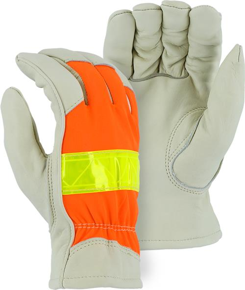 Majestic 1951 High Visibility winter Leather Drivers Gloves