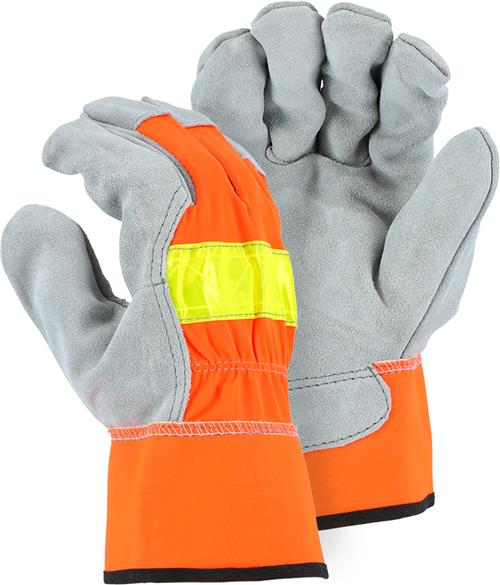 Majestic 1954 Select Shoulder Split Cowhide Gloves, ANSI 107 High Visibility Orange, Box/12 Pairs