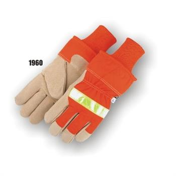 Majestic 1960  High Visibility Split Pig Winter Lined Glove w/ Orange Safety Cuff Box/12 Pair