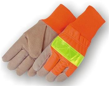 Majestic 1961 High Vis Split Pig Winter Lined Glove Reflective 3M Tape with Knit Wrist Box/12 Pair