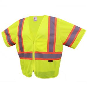 GSS Safety 2005 Standard Class 3 Two Tone Mesh Zipper Safety Vest - Lime