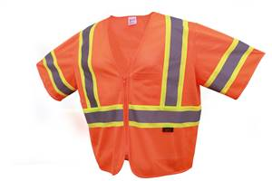 GSS Safety 2006 Standard Class 3 Two Tone Mesh Zipper Safety Vest - Orange