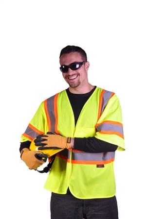 GSS Safety 2007 Standard Class 3 Two Tone Mesh Hook & Loop Safety Vest - Lime